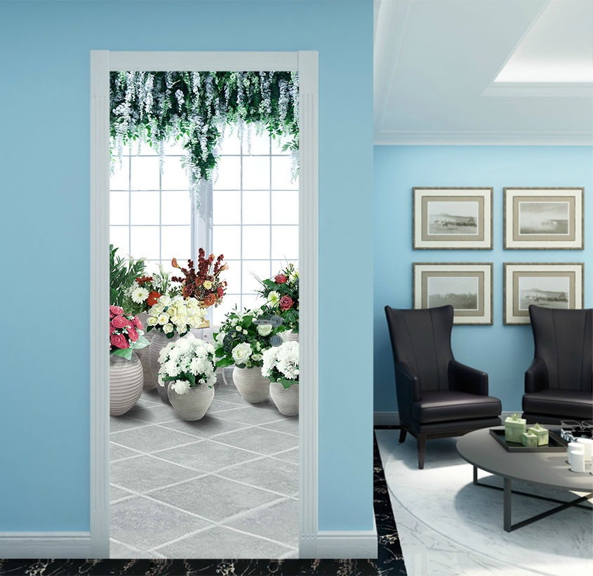 Free Shipping Flowers House Door Wall Stickers DIY Mural