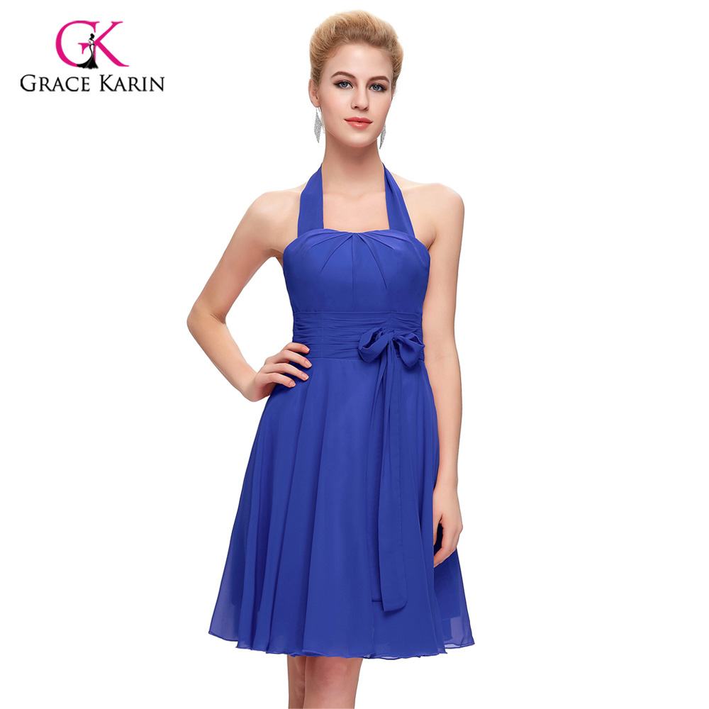 Online get cheap purple halter bridesmaid dresses aliexpress sexy bridesmaid dresses grace karin red pink blue purple chiffon halter cheap short wedding party dress ombrellifo Images