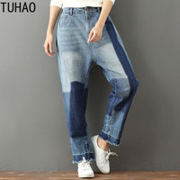 TUHAO 2019 bleached Jeans Mujer Plus Size Denim Jeans Woman Loose Boyfriend Washed Jeans vintage Pants Trousers Clothes LLJ