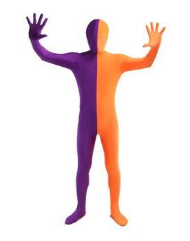 LICRA violeta y naranja Split Zentai traje de cuerpo completo