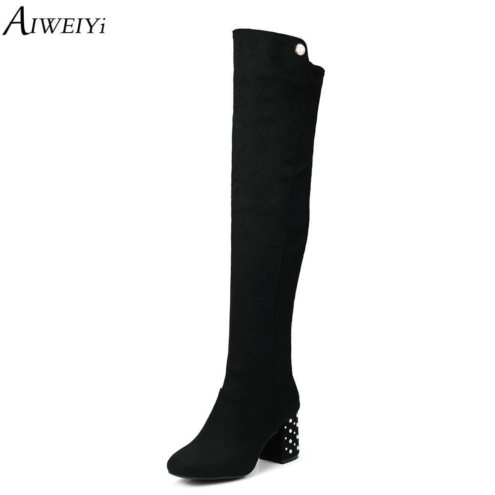 AIWEIYi femmes noir marron Faux daim cuissardes bottes Sexy mode sur le genou bottes talons hauts femme chaussures bottes de fourrure