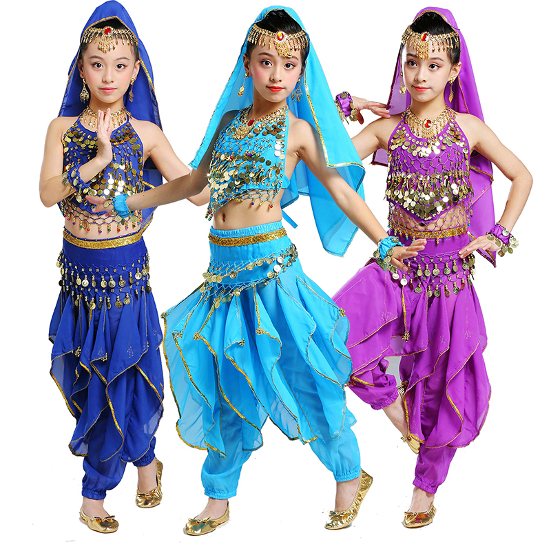 New Style Kids Belly Dance Costume Oriental Dance Costumes Belly Dance Dancer Clothes Indian Dance Costumes For Kids 5pcs/set