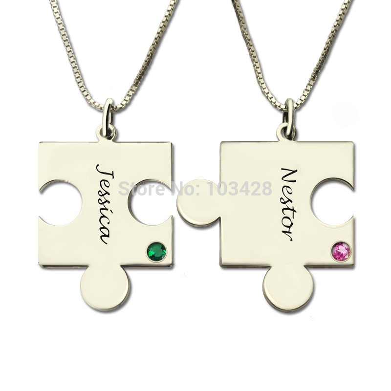AILIN Hand Stamped BFF Necklace Customized Name Necklace You're My Person Puzzle Piece Necklace Engraved Birthstone For Couple цена и фото