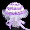 2015 Cheap New Arrival Wedding Bouquet Bridal Bridesmaid White/Purple/Pink Artificial Flower Rose Bride Bouquets buque de noiva
