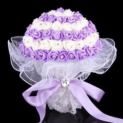 2015 Cheap New Arrival Wedding Bouquet Bridal Bridesmaid White/Purple/Pink Artificial Flower Rose Bride Bouquets buque de noiva