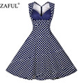 Zaful plus size mulheres dress robe de verão feminino rockabilly retro do vintage vestidos curtos de festa vestidos sem mangas red dot balanço