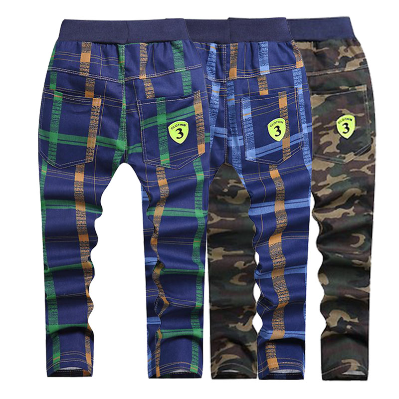 Baby boy  girl clothes pants New casual camouflage plaid long pants spring and autumn clothing  4-10 years old  Children's wear(China)