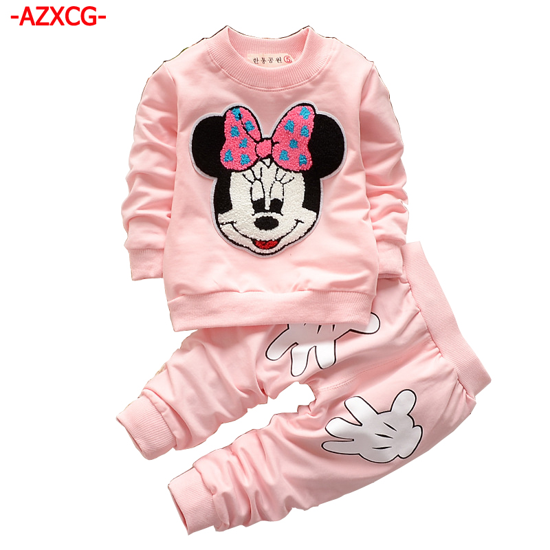2018 Girls Mickey Clothing Set Kids 2Pcs Long-Sleeve Minnie Printed Sweater +Pant Clothes Suit Girls Tracksuit Kids Clothes Sets