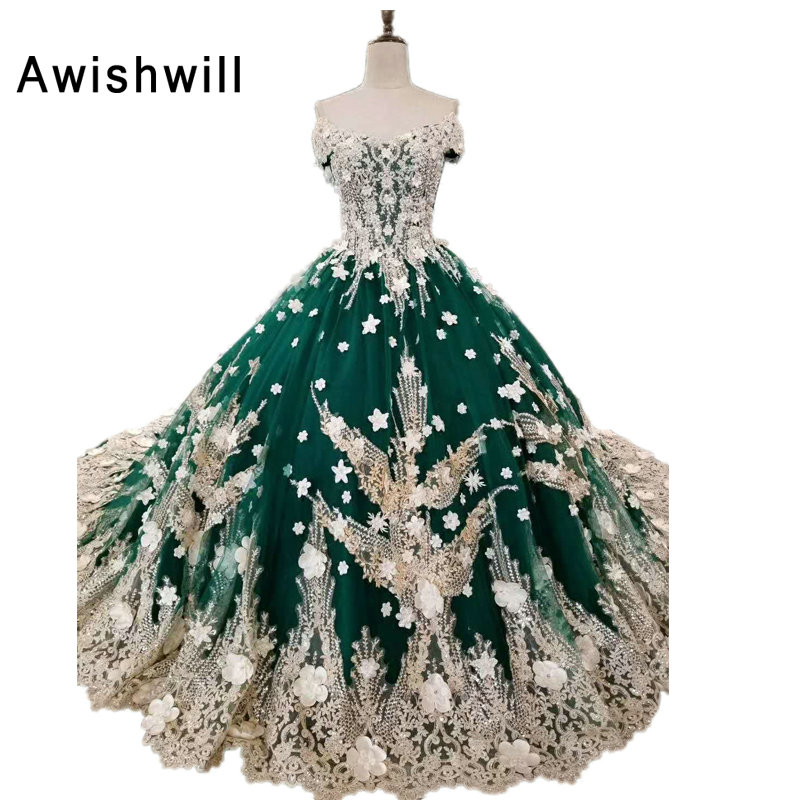 2019 New Collection Formal Long Ball Gown Prom Dress Luxury Off The Shoulder Lace Appliques Birthday