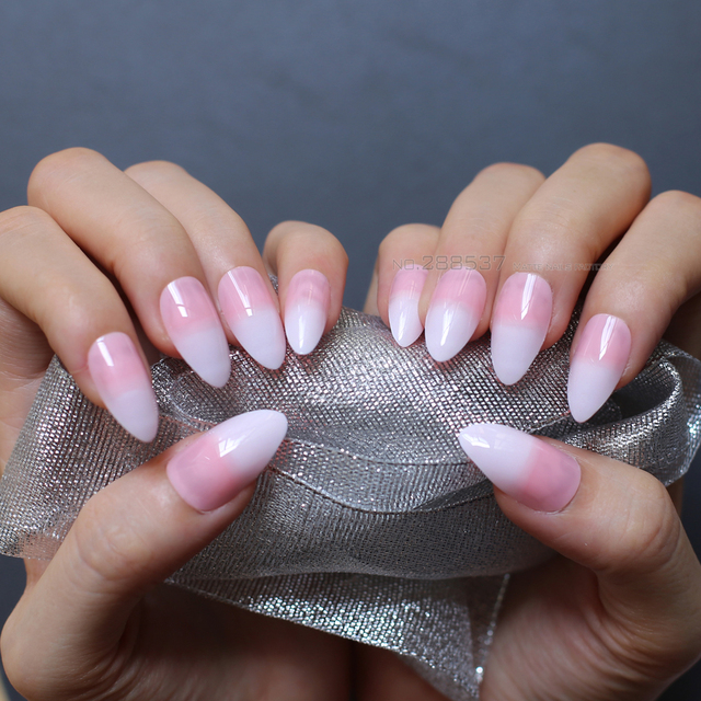 Jelly nude white gradient coffin fake nails stiletto nails lovely pink medium nature False nails Full Nail end product 24pcs