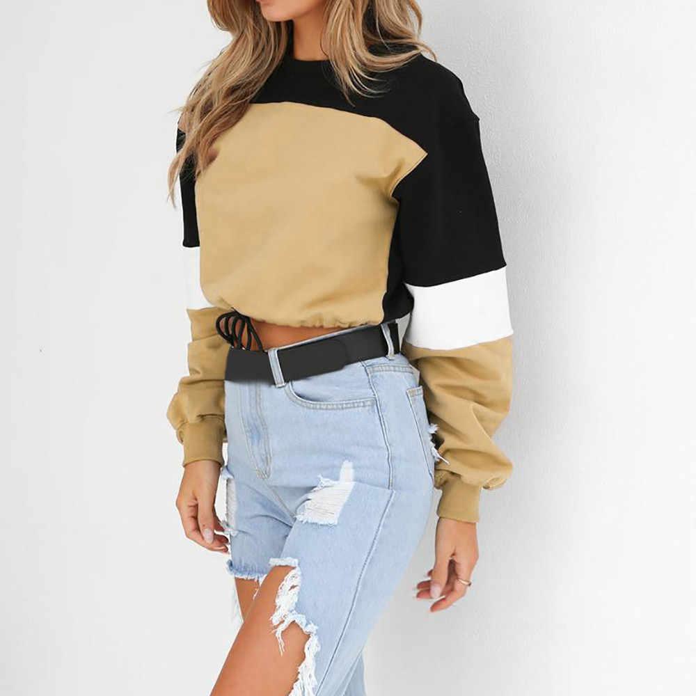 Autumn Hoodies Fashion Patchwork Color Sweatshirts Womens 2019 Long Sleeve Sweatshirt Hoodies Tops Blouse Crop Pullover #15