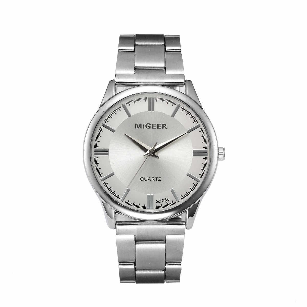 MIGEER นาฬิกาคริสตัลแฟชั่นสแตนเลสนาฬิกาควอตซ์ชายนาฬิกาผู้ชายควอตซ์นาฬิกาข้อมือบุรุษ