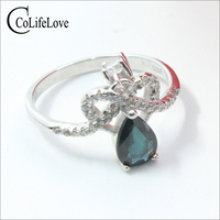 Romantic blue green sapphire ring 0.7 ct 5 mm * 7 mm natural pear cut sapphire ring solid 925 silver sapphire crown ring