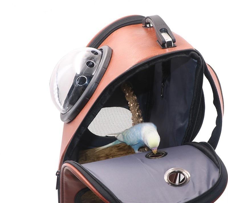 Portable en plein air oiseau sac à dos perroquet transporteurs Cage perroquet sac avec bois perche Pet respirant espace Capsule sac à dos CW080 - 3