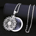 Women Long Necklace Pendant 2x Magnifying Reading GlassGold Plated 2 Laye Hollow Flower Design  65CM Chain Crystal Necklace