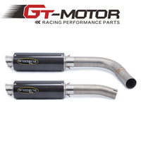 GT Motor Motorcycle Link Pipe Stainless Steel carbon fiber Exhaust Muffler Silence Set Link Middle Pipe for YAMAHA R1 2009 2014