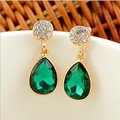 2015 New Ladies Fashion Upscale Jewelry Gold-Plated Studded With Rhinestone Teardrop-Shaped Crystal Stud Earrings For Women E364