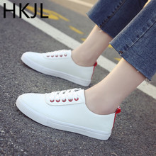 HKJL women little white shoes fall 2019 new flat loafers for students all-in-one breathable lace-up Fits smaller than usual A176