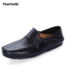 Tianyuqi Летние слипоны кожаные туфли мужские повседневные полые дышащая обувь мягкие мокасины для вождения водонепроницаемые Мокасины модные мужские туфли на плоской подошве