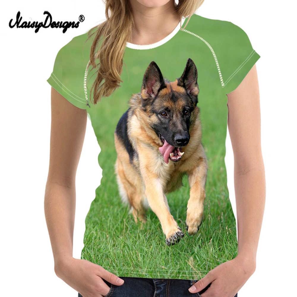 Noisydesigns Vogue kobiety letnie koszulki z krótkim rękawem śliczne zwierząt owczarek niemiecki wzór dziewczyny O szyi koszulki Fit z krótkim rękawem Top koszulki