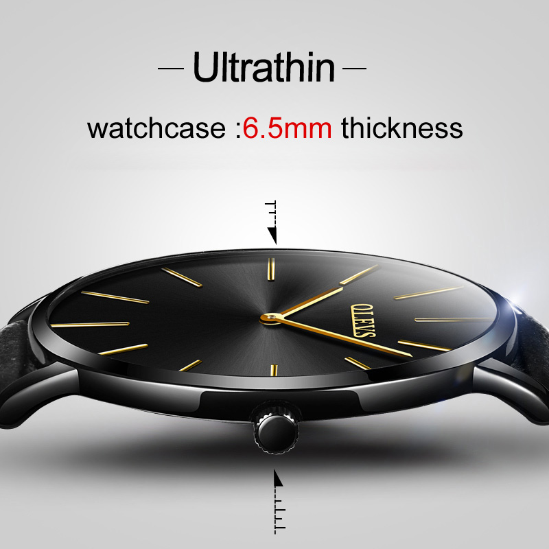 Ultra Thin Wristwatch OLEVS Brand Luxury Leather Watch Men Business Casual Quartz Minimalist Watches Waterproof Clock