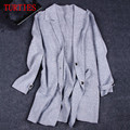 NEW Autumn and winter women's Coat knit Cashmere Coat thick long sections loose Sweater Wool Cardigan Slim suit collar bottoming