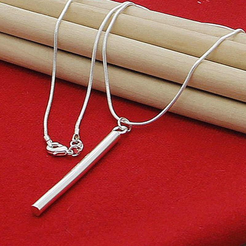 925 srebrne naszyjniki biżuteria okrągła kolumna wisiorki naszyjnik łańcuchy dla kobiet mężczyzn biżuteria