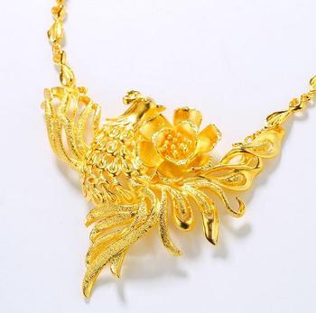 Jewelry Beautiful Bridal Phoenix Flower Pendant Clavicle Chain Necklace