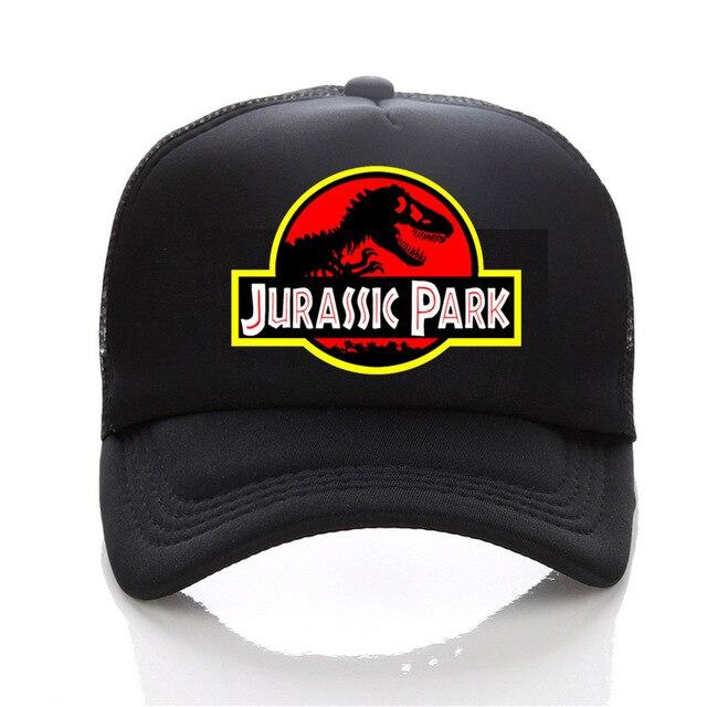 the film Jurassic Park Dinosaur Print Flat Bill Visor Trucker Caps Mesh Gorras Men Summmer Fashion Adjustable Snapback Hats