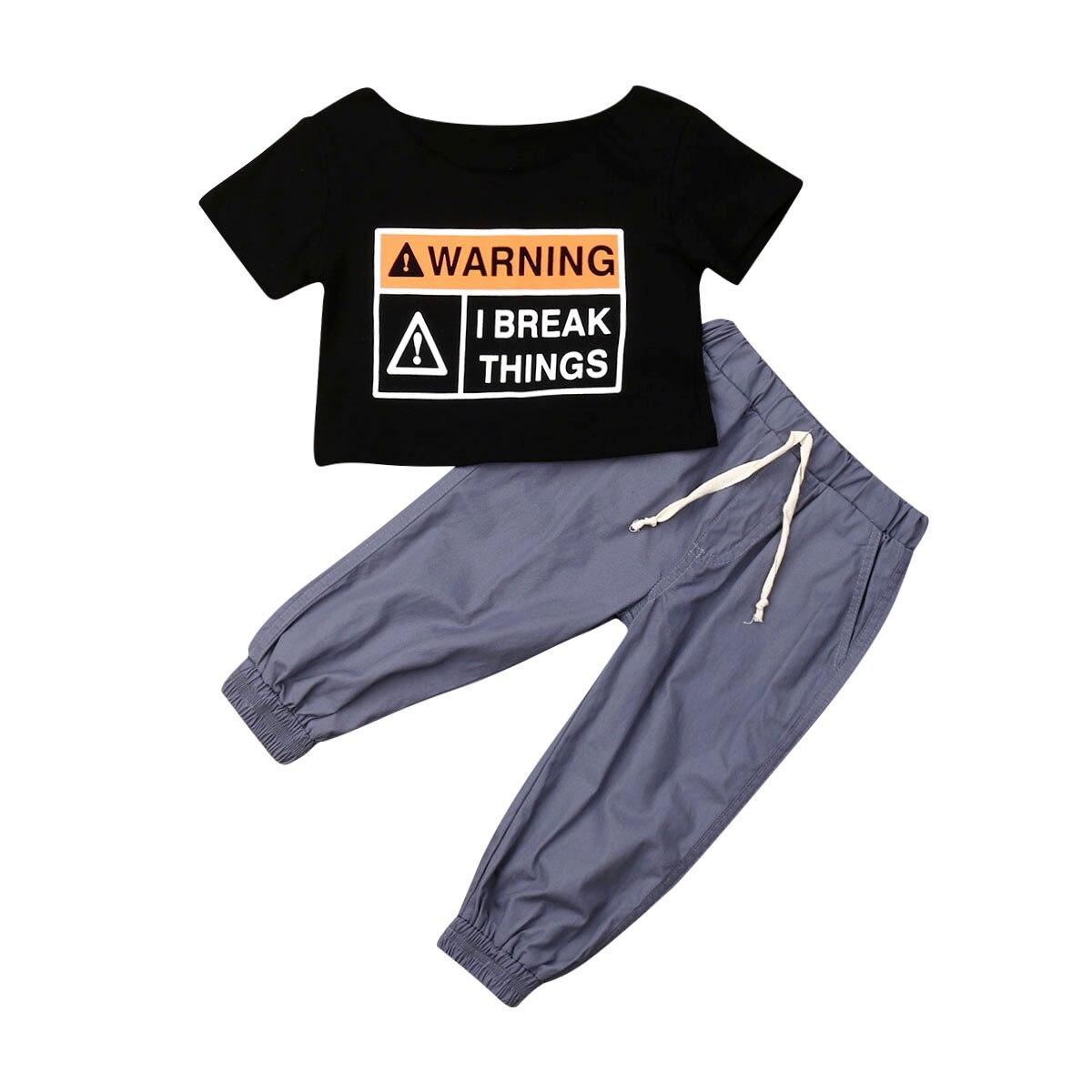 2Pcs Newborn Baby Boys Girls Kids T-shirt Crop Tops Vest+Pants Outfit Clothes