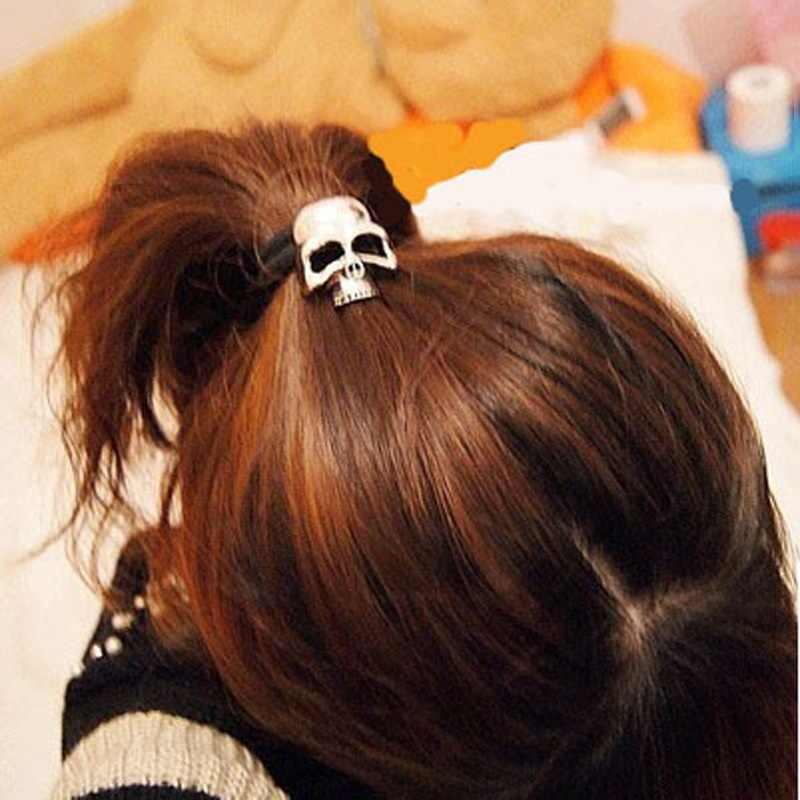Hot Fashion Metal Skull Candy Color Elastic Cheap head band hair ring rope Tie Ponytail holder hair accessory Ornament For Women