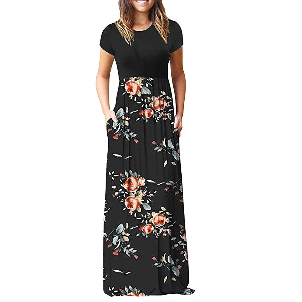 Women's Casual Sleeve O-neck Print Maxi Tank Long Dress plus size Polyester Summer Dress #YL5(China)
