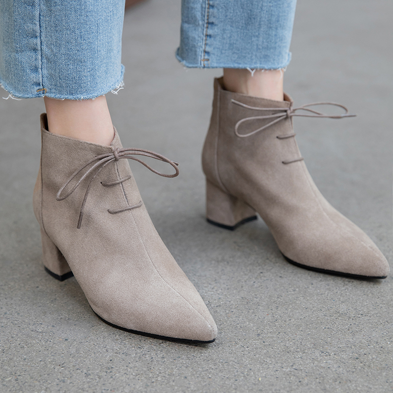 INS hot women Ankle boots Genuine Leather 22-25 cm length Cow suede Pointed toe Zipper booties ankle boots for women rain boots