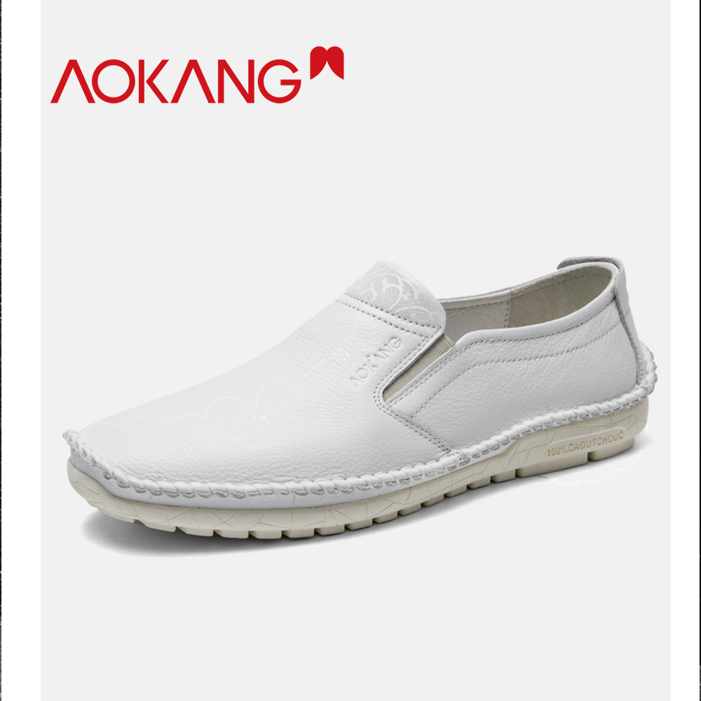 AOKANG 2019 Spring Men Loafers Casual Shoes Men Genuine Leather Slip on Flats men shoes  Fashion Solid Comfortable shoesAOKANG 2019 Spring Men Loafers Casual Shoes Men Genuine Leather Slip on Flats men shoes  Fashion Solid Comfortable shoes