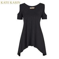 Kate Kasin Women Cold Shoulder Long Tunic T Shirt Tops Short Sleeve Tee Shirts Femme 2017