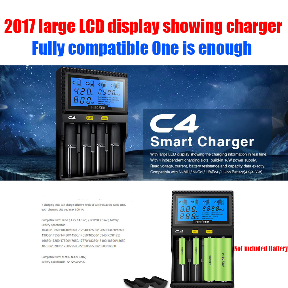 2017 Newest C4 Smart <font><b>Battery</b></font> Charger Universal LCD Screen Display USB 18650/26650/<font><b>16340</b></font>/14500 <font><b>Li</b></font>-<font><b>ion</b></font> Ni-MH/Ni-CD <font><b>Battery</b></font> Charger image
