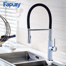Fapully Кухонная мойка кран Pull Out Белый Хром Поворотный Смеситель для мойки Водопроводной воды torneira