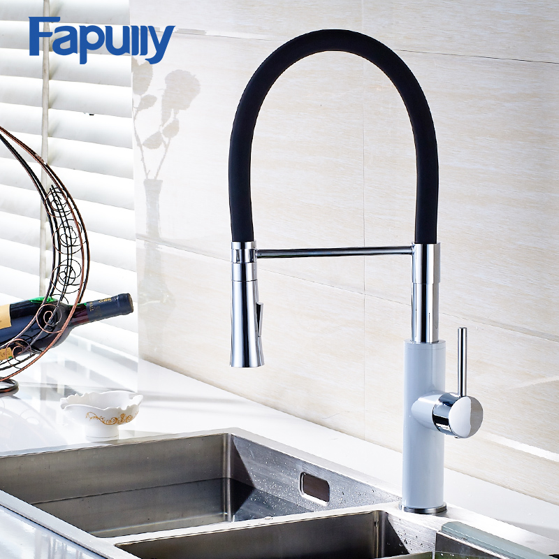 Fapully Kitchen Sink Faucet Pull Out White Chrome Swivel Mixer Sink Tap Water Torneira