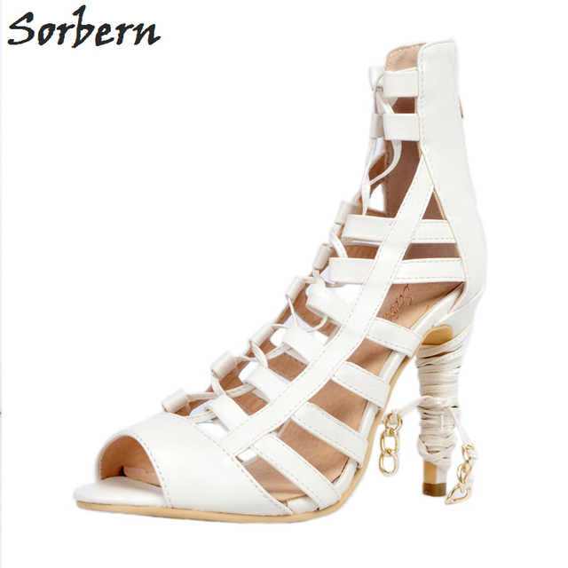 Sorbern Women Sandals Shoes White Ladies Party Shoes PU Lace Up High Heels Sandals Women Covered Back Peep Toe Ladies Sandals