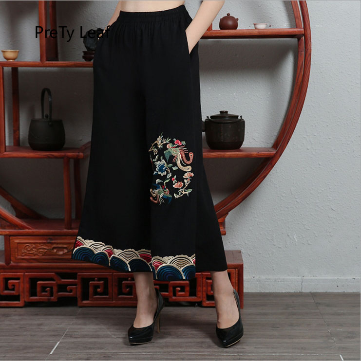 2018 new cotton and linen retro embroidered   wide     leg     pants
