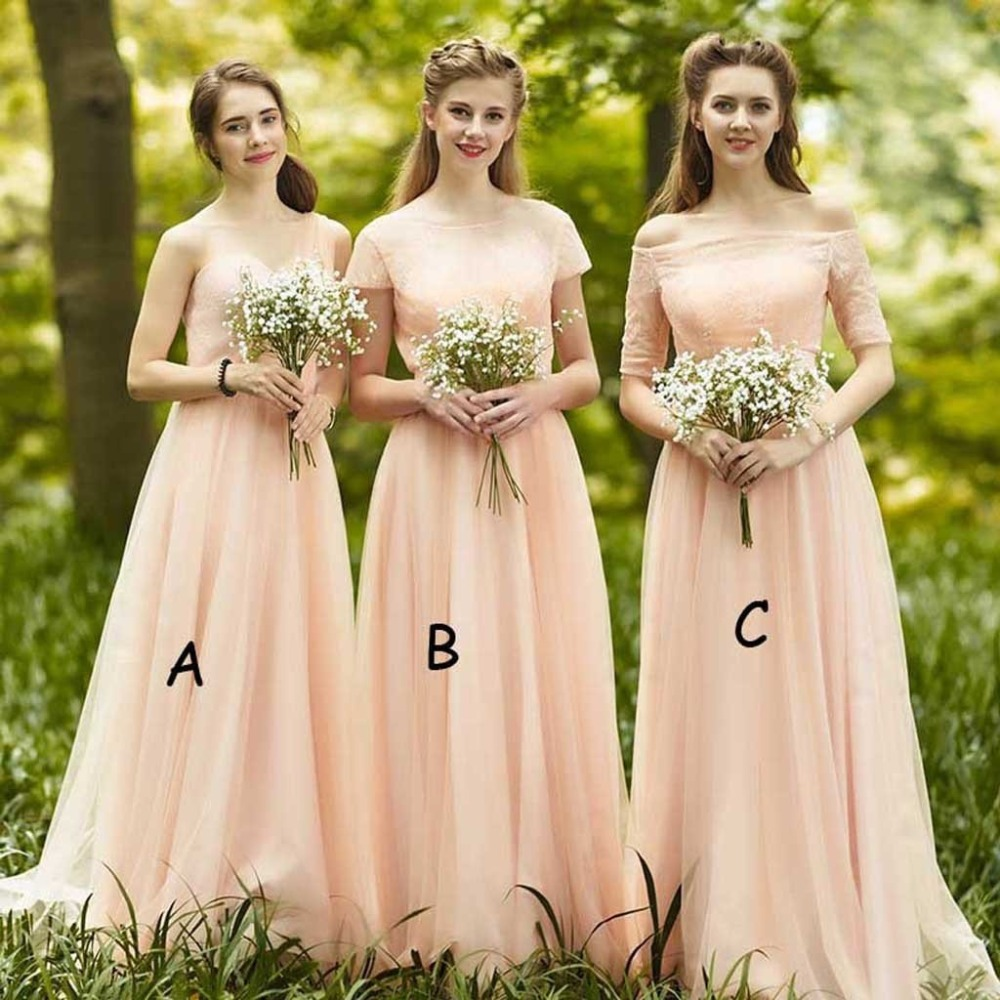 Fairy Light Peach Mixmatch Junior   Bridesmaid     Dresses   Off The Shoulder A Line Bateau Tulle Lace Up Maid of Honor   Dress   2019 Cheap