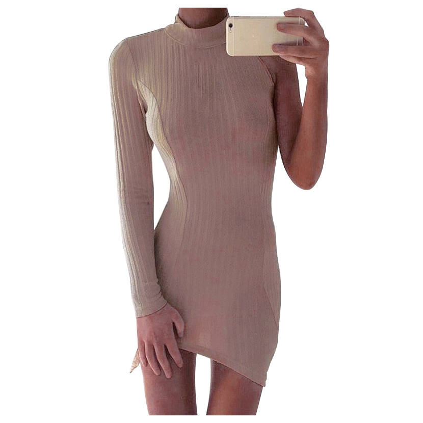 Fashion Long Sleeve Off Shoulder Slash Neck Sexy Club Women Dress Slim Bodycon Knitted Sweater One-Shoulder Party Night Dresses sweet off the shoulder long sleeve bodycon sweater dress for women