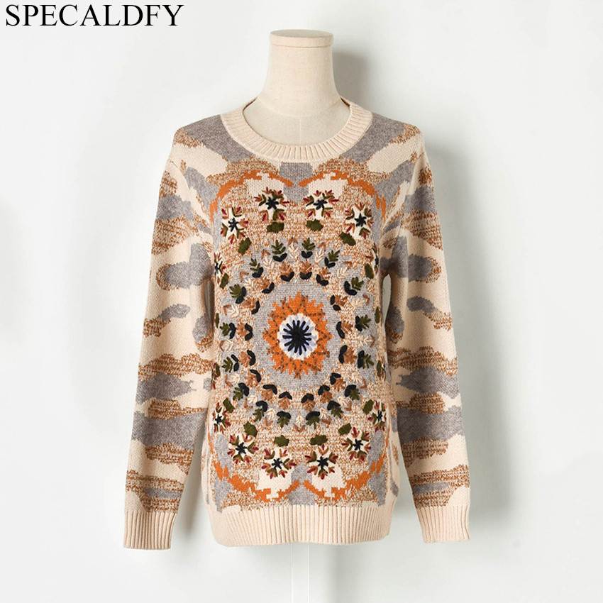 Automne hiver tricot pull femmes à manches longues broderie tricoté pull femmes chandails et pulls Sueter Mujer Invierno 2019