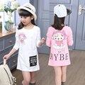 Primavera outono moda de nova roupa dos miúdos crianças caricatura encabeça meninas de manga comprida minion médio - longo fino hip camisetas criança t - camisas