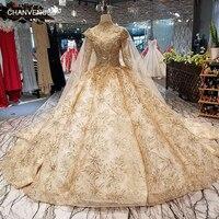 LS65454 платье люксРоскошный Королевский Дубай торжественное платье с высокой горловиной Длинные рукава платье невесты с золотой кружевные у