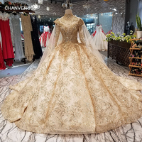 LS65454 luxury royal dubai wedding dress high neck long sleeve bridal dress with golden lace decoration and long cape real price
