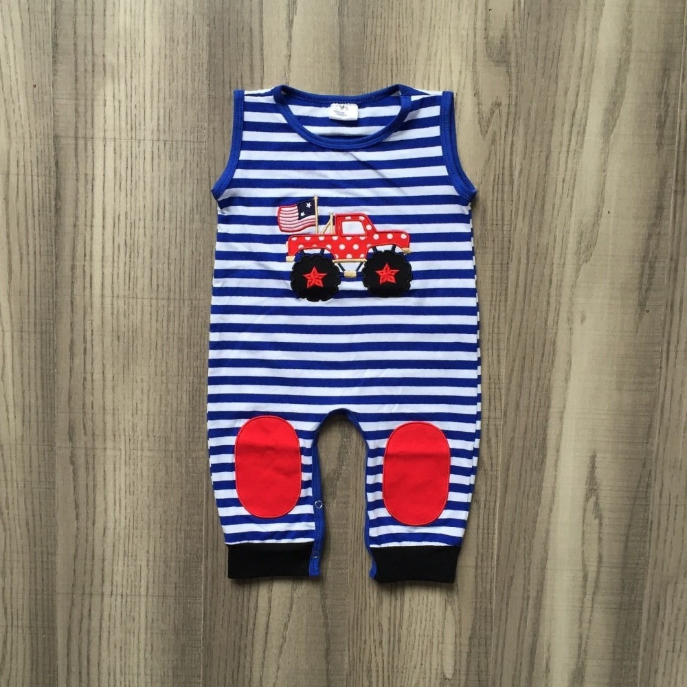 baby kids summer outfits infant toddler baby kids 4th of july   romper   blue white toddler girls truck   romper   clothing outfits