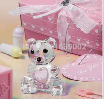 Luxurious Baby shower gifts Pink Blue Crystal Teddy Bear Figurines wedding crystal Favor Free Shipping 20sets image