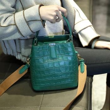 2019 summer new embossed top layer cowhide handbags bucket bag leather shoulder Messenger bag handbag