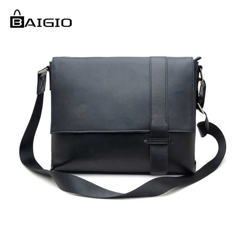 Aliexpress.com : Buy Baigio Men Bag Black Leather Men ...